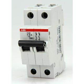 ABB S202-K20 dopelter Leitungsschutzschalter 6kA bei 230/400V AC