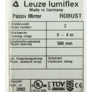 LEUZE LUMIFLEX ROBUST PASSIVE MIRROR PM2-500