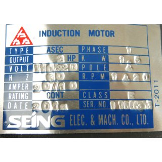 Seing ASEC 1-Phasen Induktionsmotor Wechselstrommotor #D11593