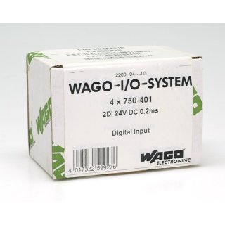 WAGO 750-401 2DI 24V DC 0.2ms Digitale Eingangsklemme 4 Stück